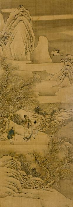 Chinese Landscape Ink & Color on Silk Painting, Framed