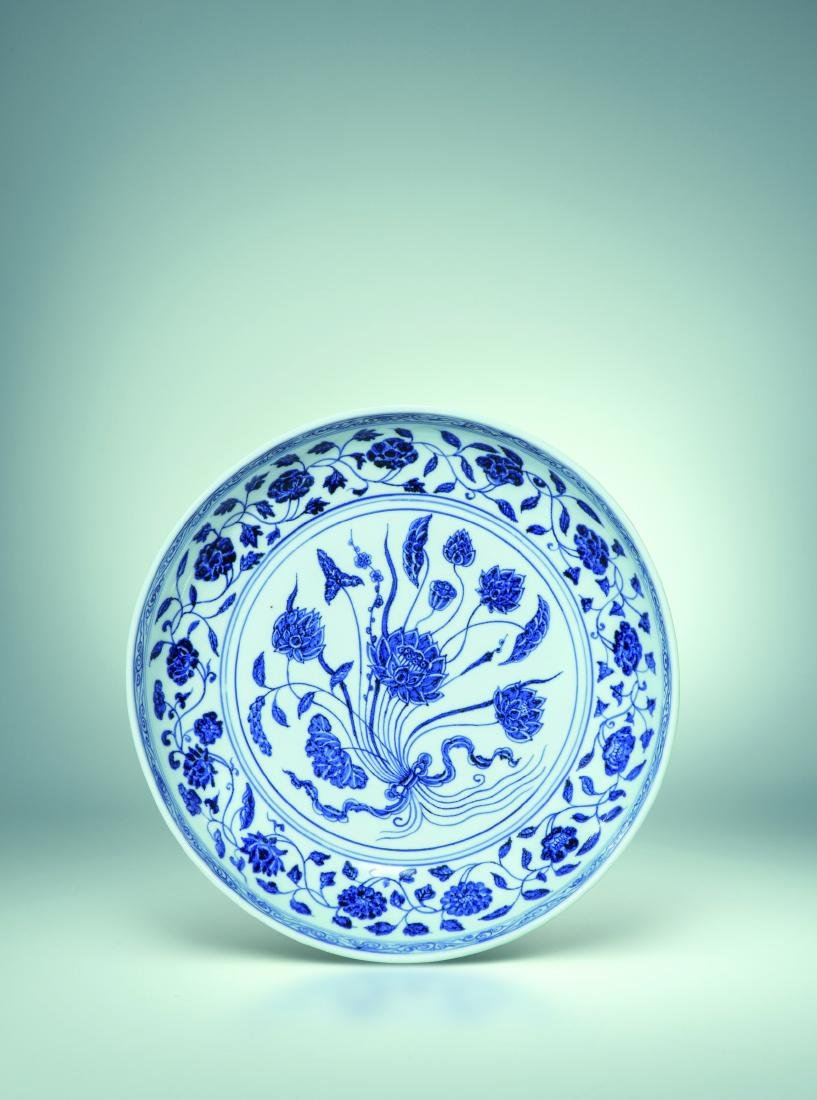 A BLUE AND WHITE LOTUS DISH, YONGLE MING DYNASTY