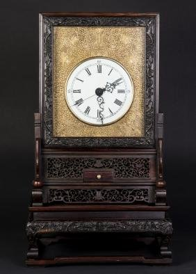 A Republic Period Chinese Rosewood Table Clock
