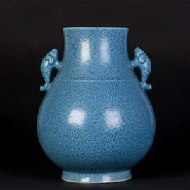 A ROBIN'S EGG BLUE GLAZED HU VASE, QING QIANLONG
