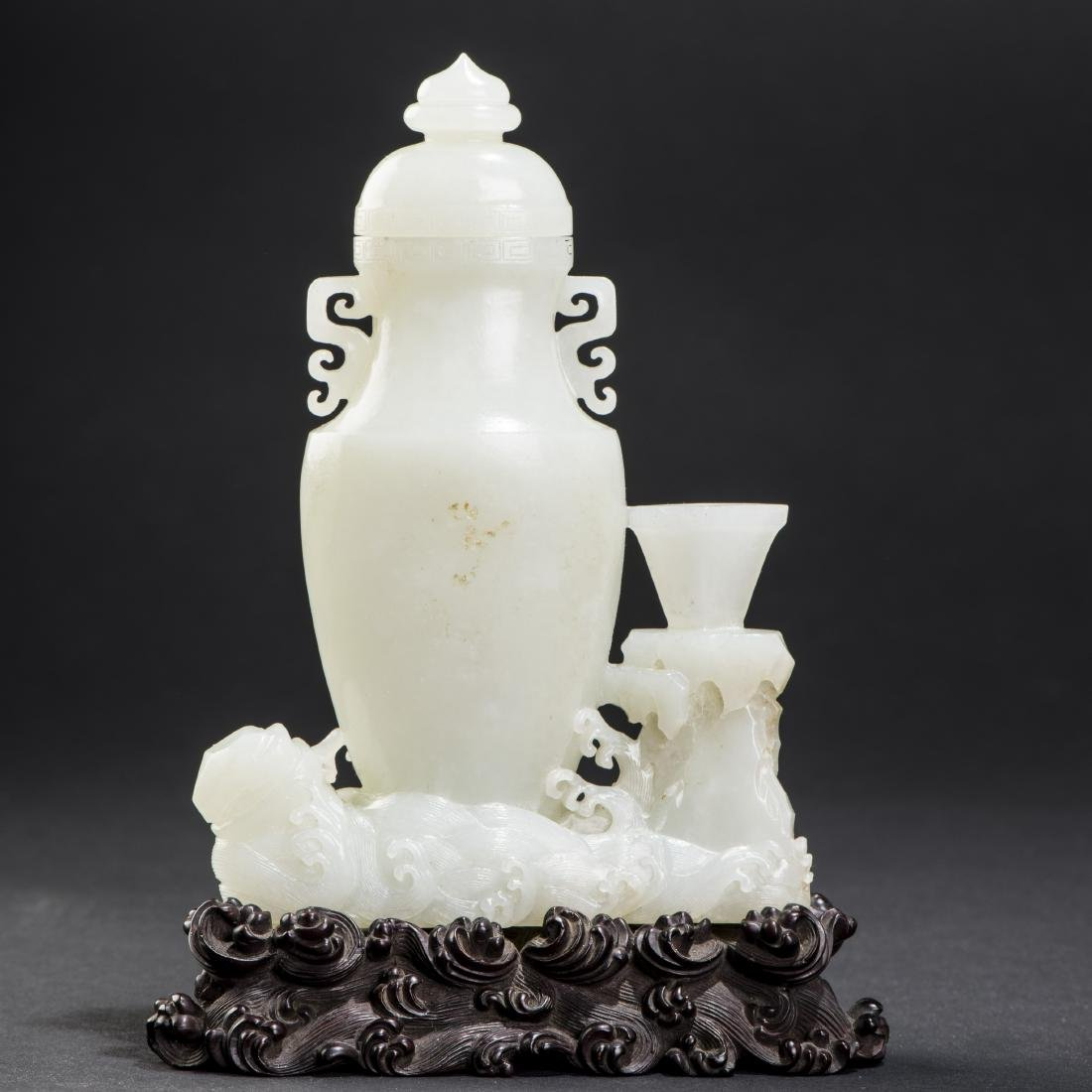 A WHITE JADE VASE AND COVER , QING DYNASTY