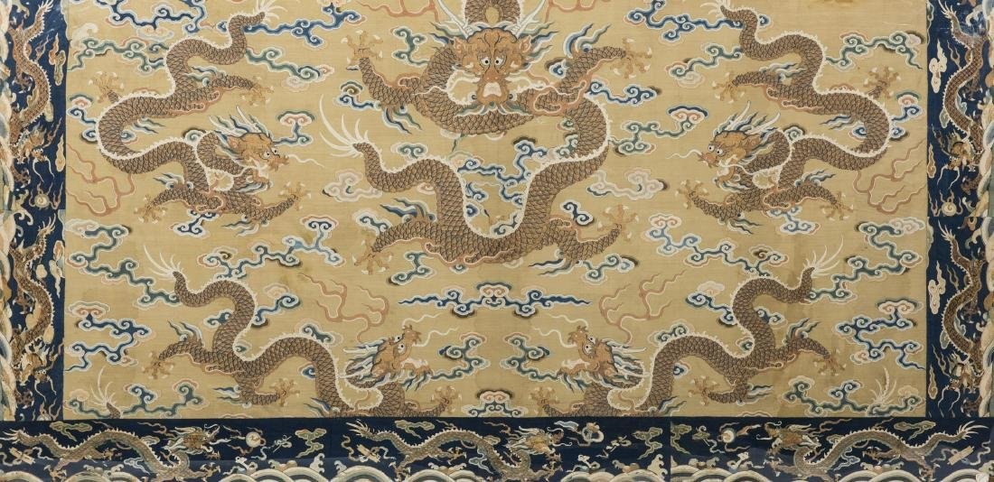 A 'FIVE DRAGONS' EMBROIDERY, QING DYNASTY, QIANLONG