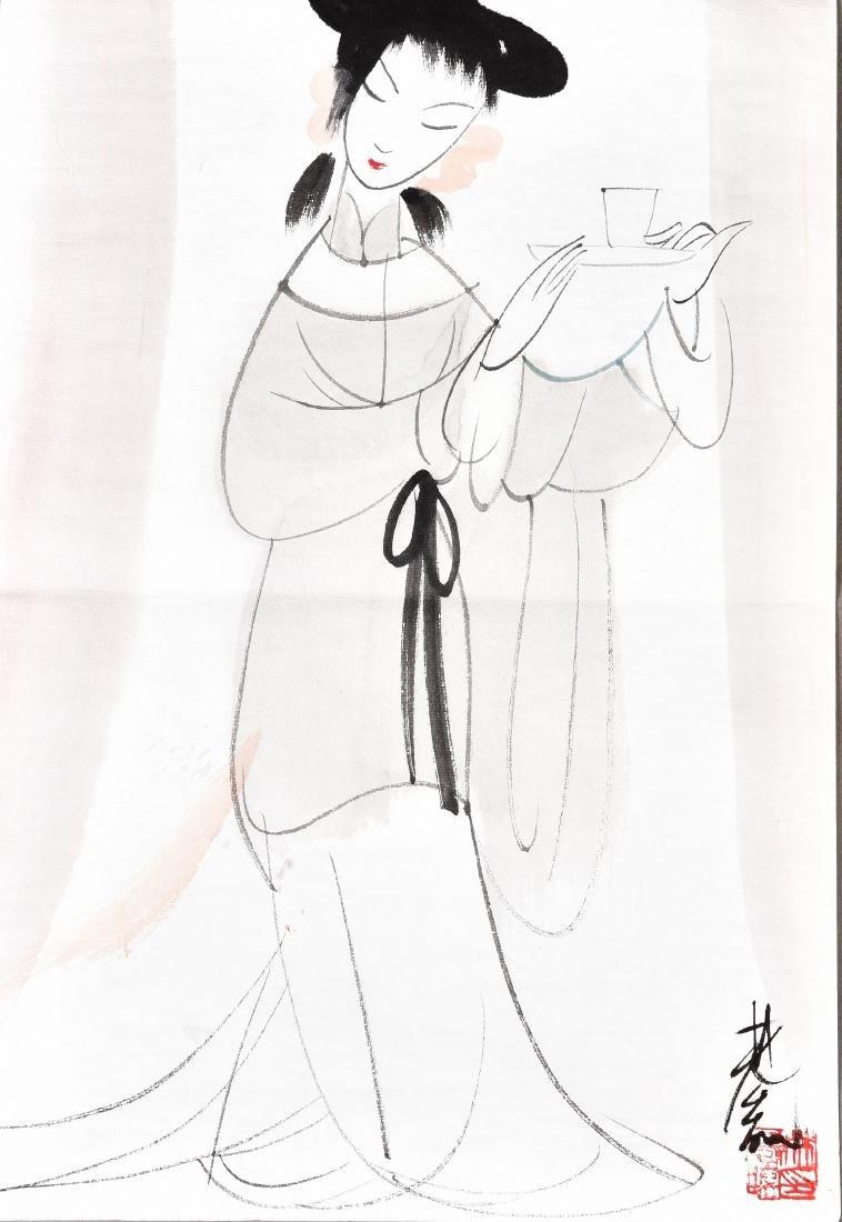 LIN FENGMIAN (1900-1991), BEAUTY DRINKING TEA