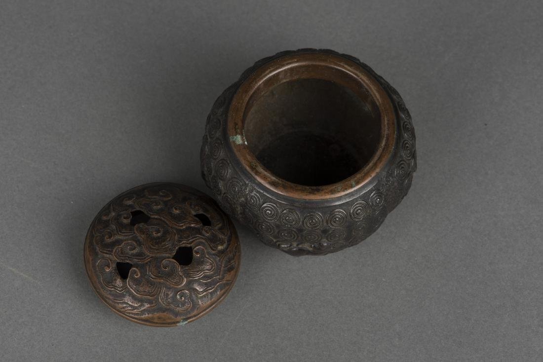 A BRONZE CENSER WITH COVER, 19TH CENTURY - 2