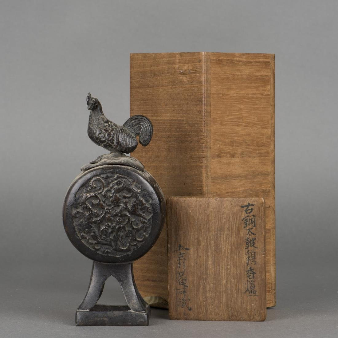 A JAPANESE BRONZE 'COCK' CENSER, 19TH CENTURY