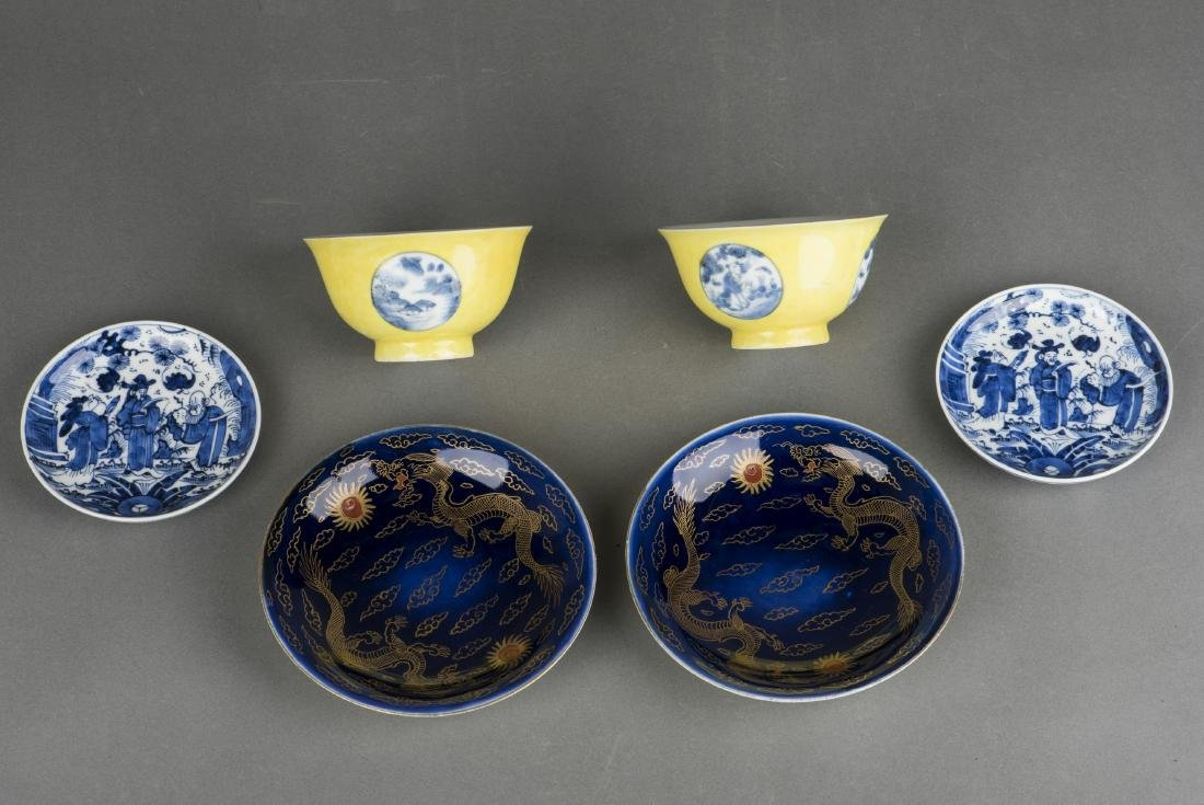 THREE SETS OF QIANLONG STYLE PORCELAINS, 20TH CENTURY