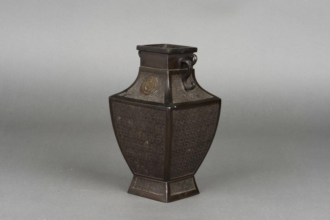 A SONG STYLE BRONZE VASE, 19TH CENTURY - 2