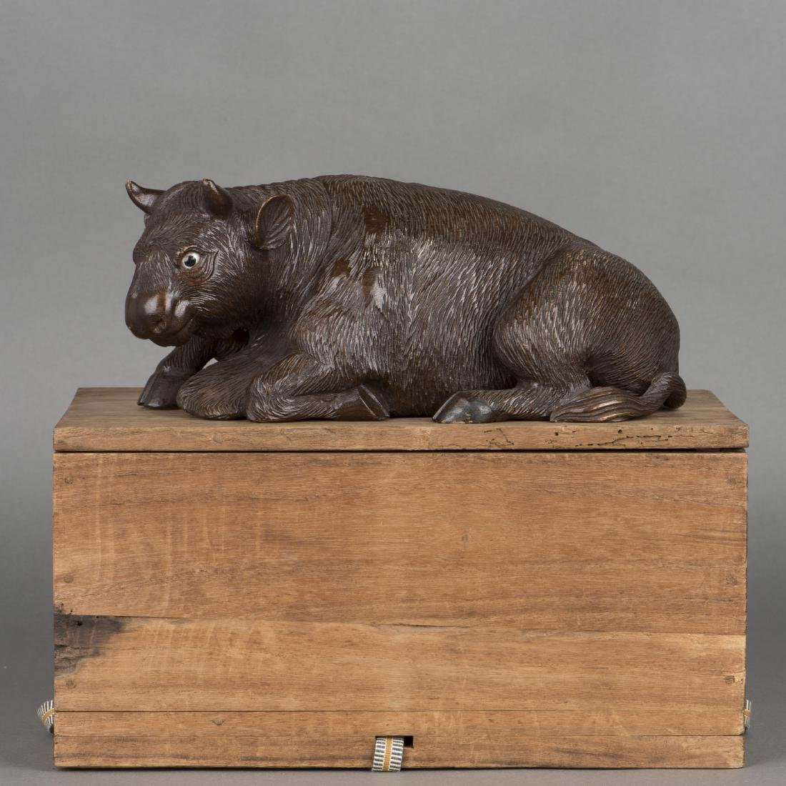 A CARVED FIGURE OF COW, 19TH CENTURY