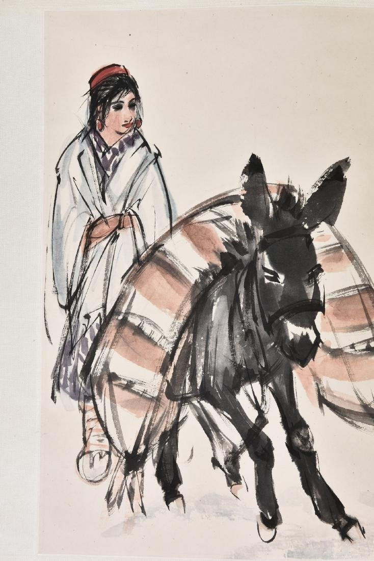 HUANG ZHOU (1925-1997), GIRL AND DONKEY - 3