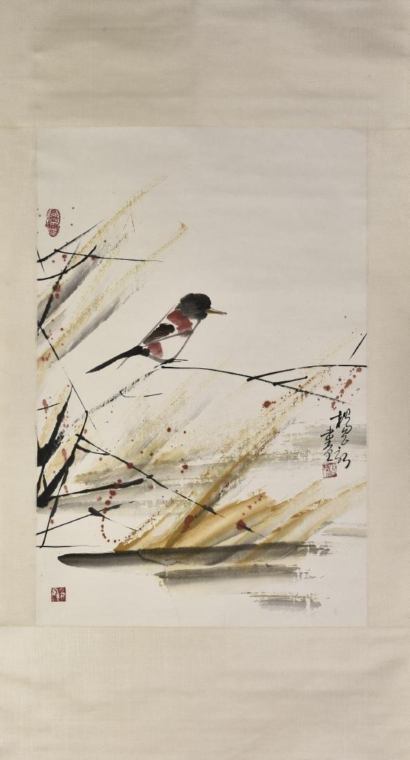 YANG ZHENGXIN (1942-), BIRD AND FLOWER