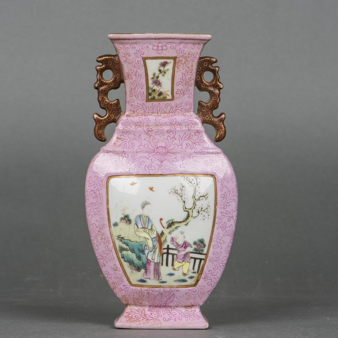 A PINK-GROUND FAMILLE ROSE 'FLOWER' WALL VASE