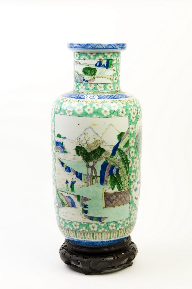 A CHINESE FAMILLE VERTE WUCAI BALUSTER VASE, QING