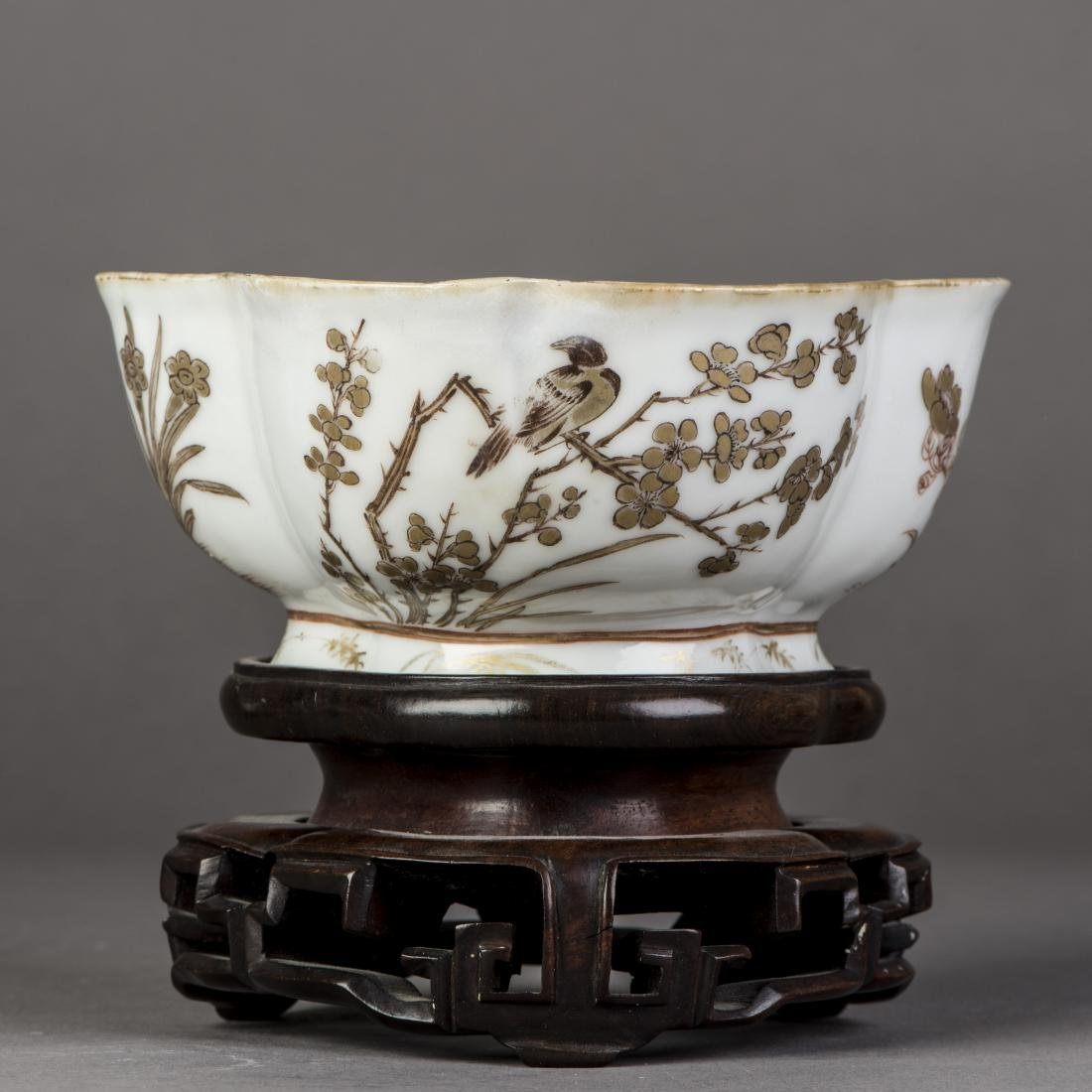 A 'BIRD AND FLOWER' PORCELAIN BOWL