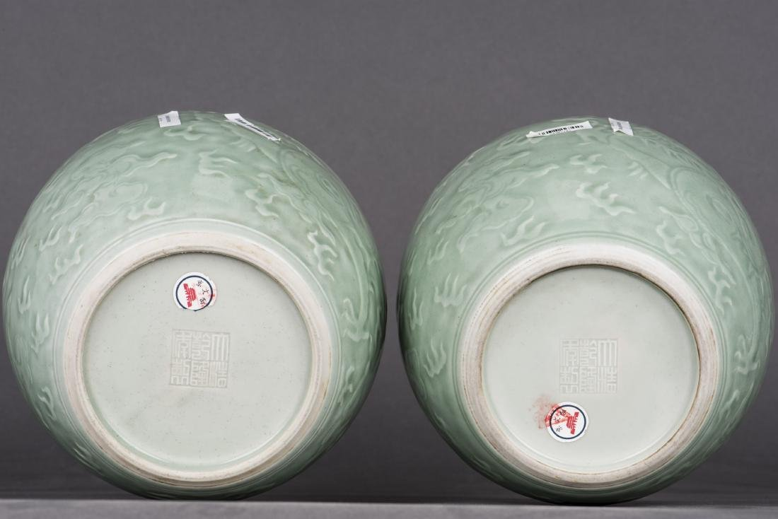 A PAIR OF CELADON-GLAZED 'DRAGON' JAR AND COVERS - 4