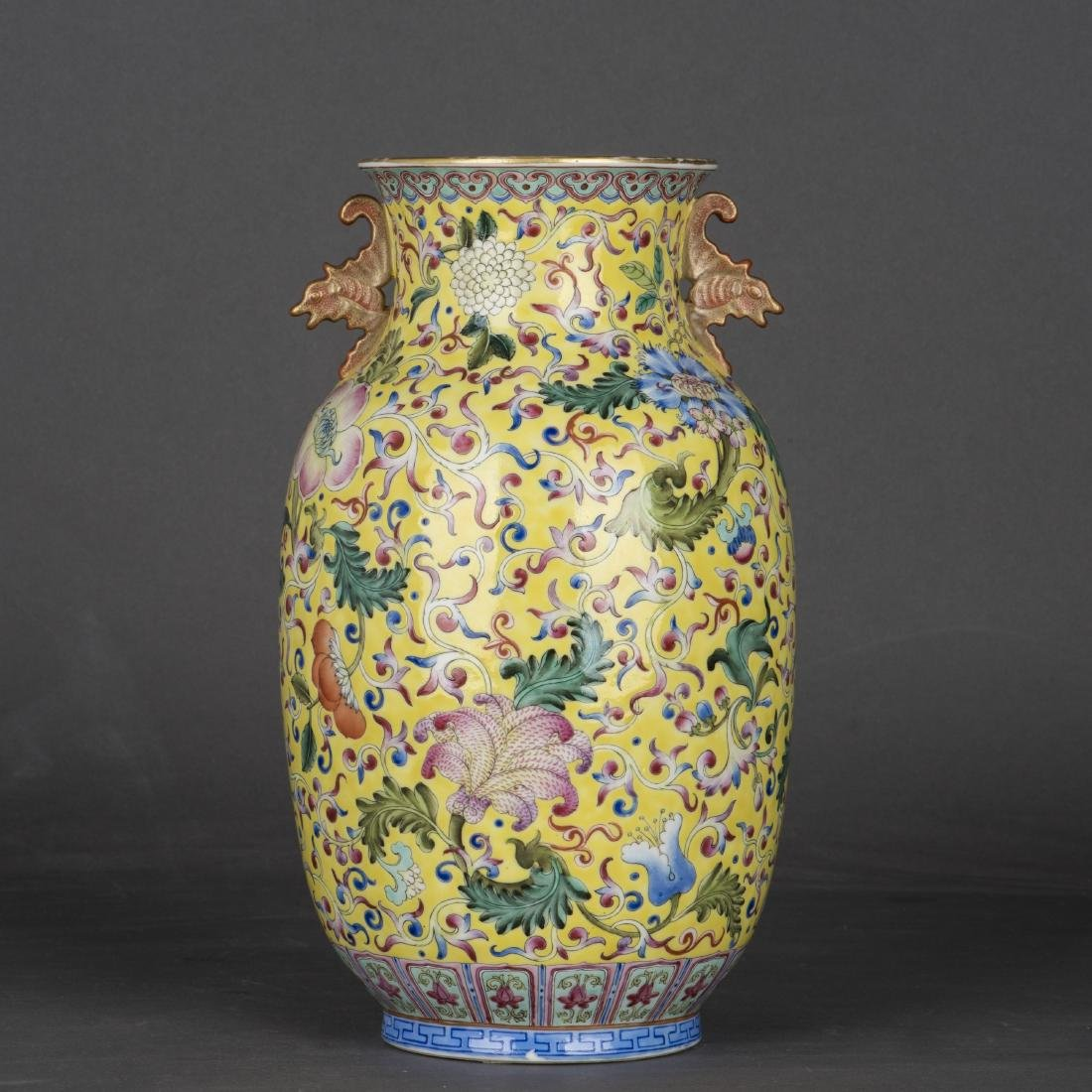 A YELLOW-GROUND FAMILLE ROSE VASE, REPUBLIC PERIOD