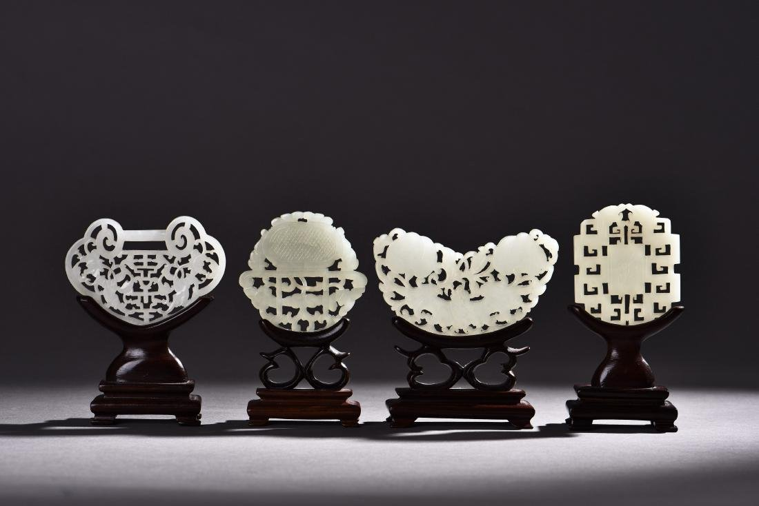 FOUR PIECES OF OPENWORK WHITE JADE - 2