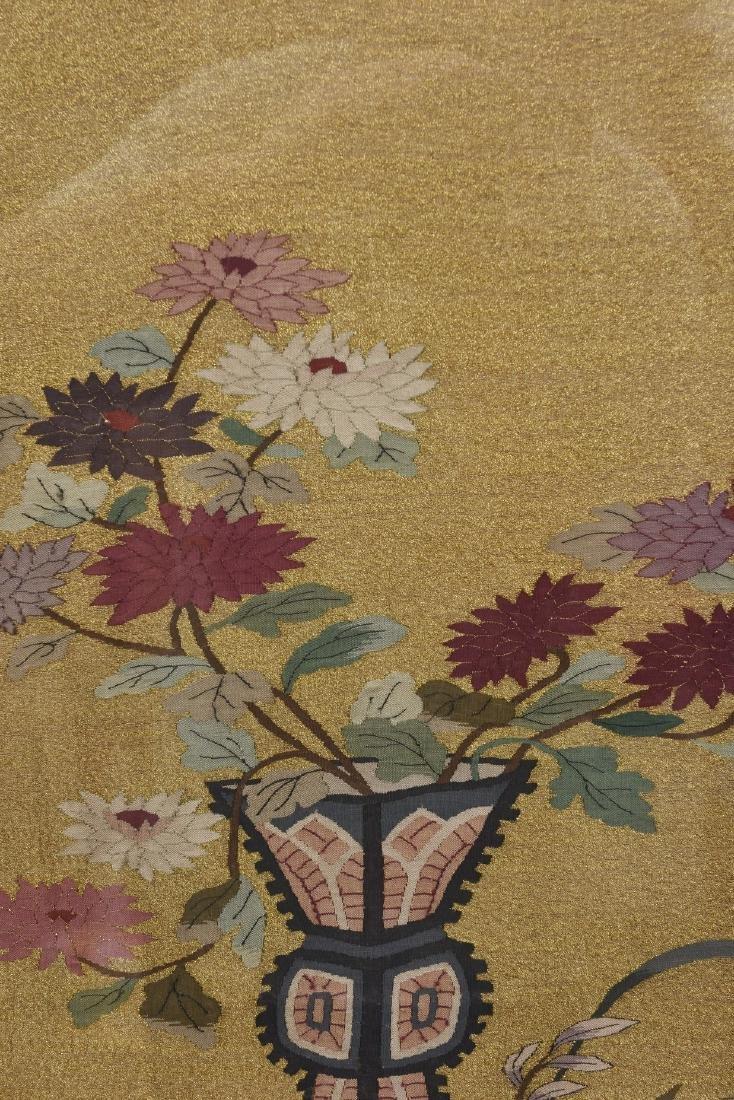 A FRAMED FLOWER MOTIF KESI EMBROIDERY - 2