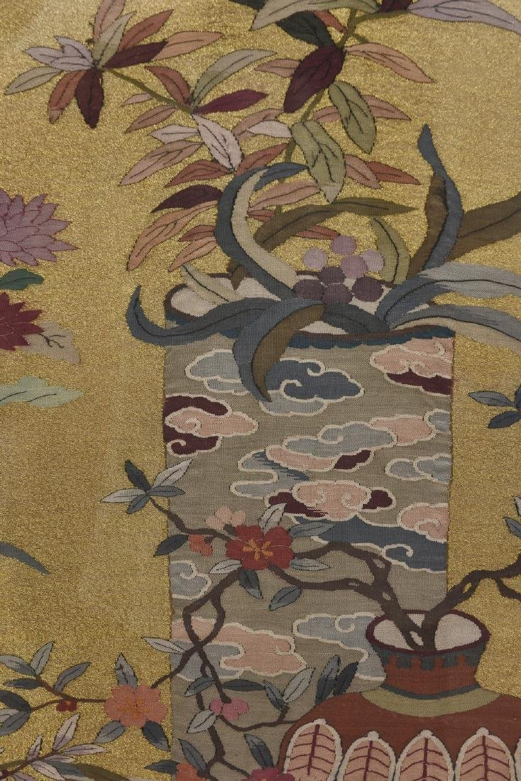 A FRAMED FLOWER MOTIF KESI EMBROIDERY - 4