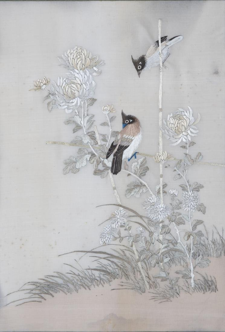 A FRAMED FLOWER AND BIRD EMBROIDERY - 2