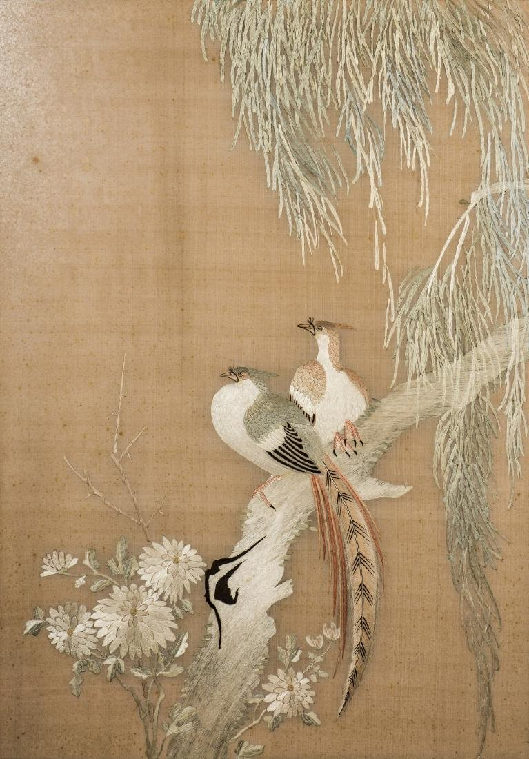 A CHINESE SILK EMBROIDERED PANEL, FRAMED