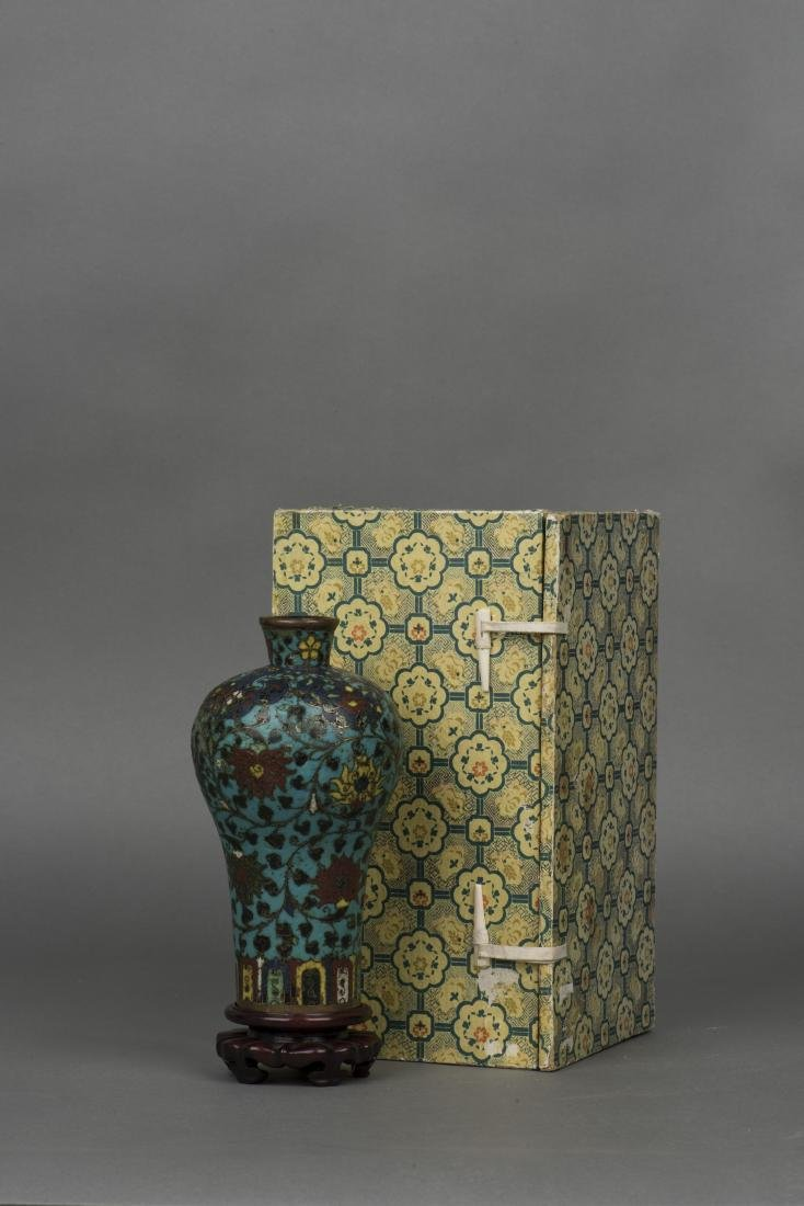 A CLOISONNE ENAMEL VASE, MEIPING, MING DYNASTY - 2