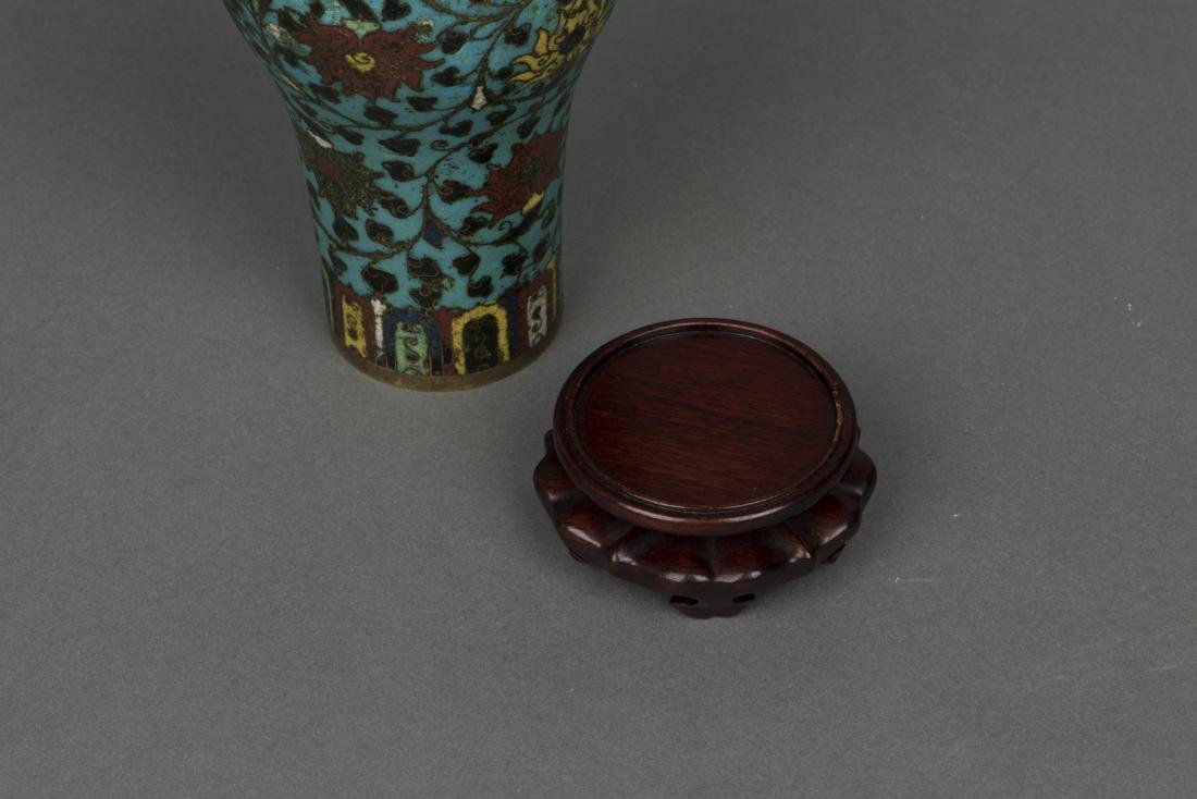 A CLOISONNE ENAMEL VASE, MEIPING, MING DYNASTY - 3