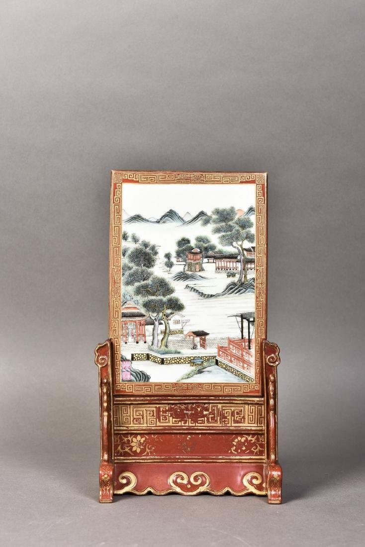 A FAMILLE ROSE LANDSCAPE SCREEN, PAINTED BY WANG