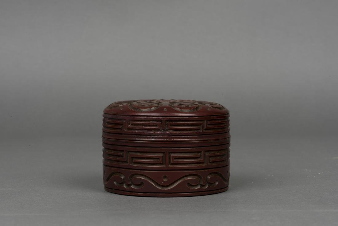 A CARVED LACQUER BOX, QING DYNASTY