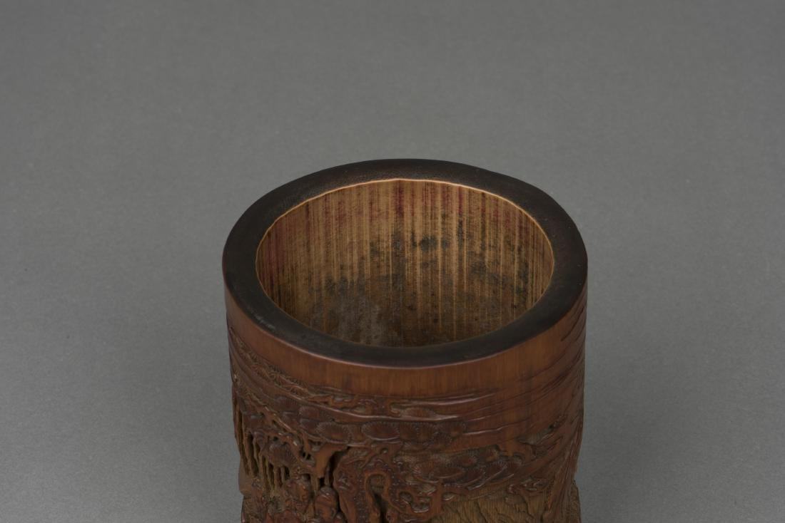 A CARVED BAMBOO 'FIGURAL' BRUSH POT - 2