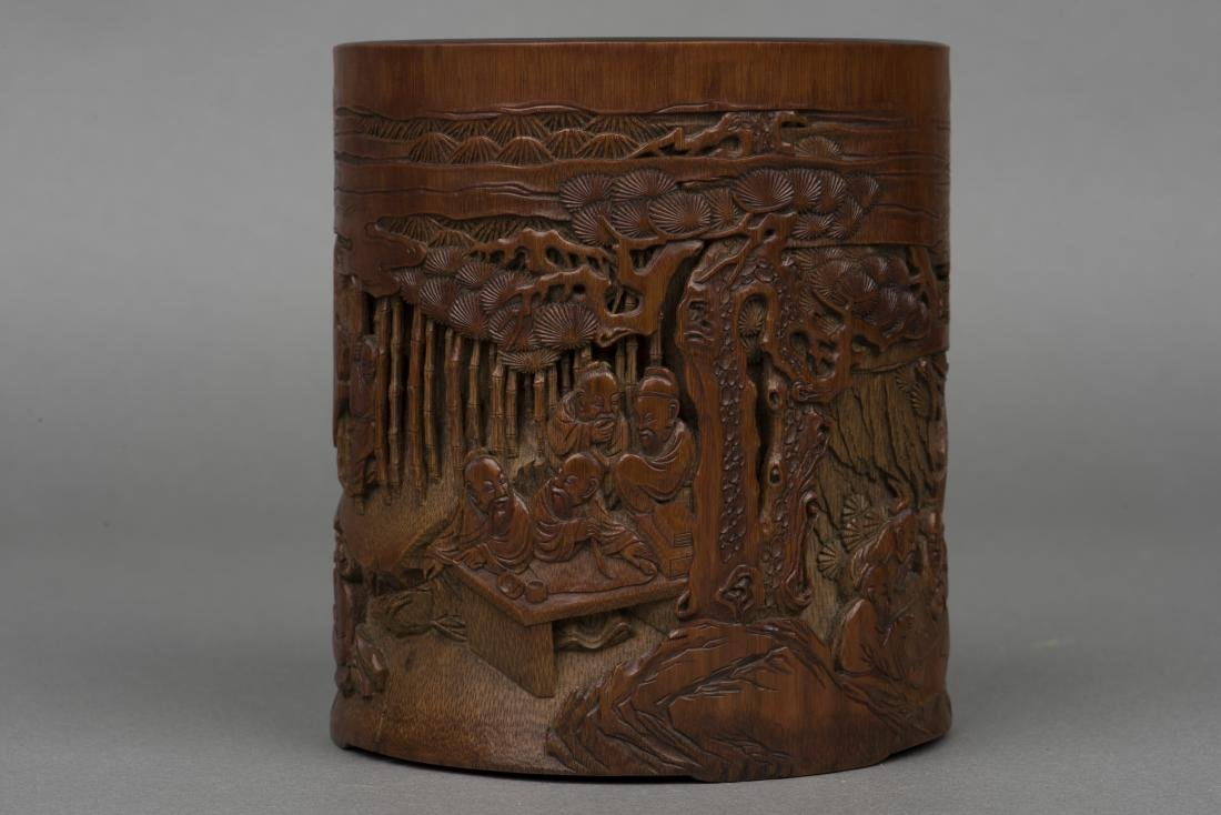 A CARVED BAMBOO 'FIGURAL' BRUSH POT - 4