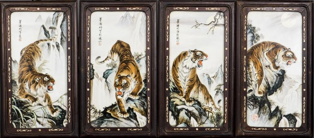 A SET OF FOUR ' TIGER' PORCELAIN PLAQUES, 20TH CENTRY