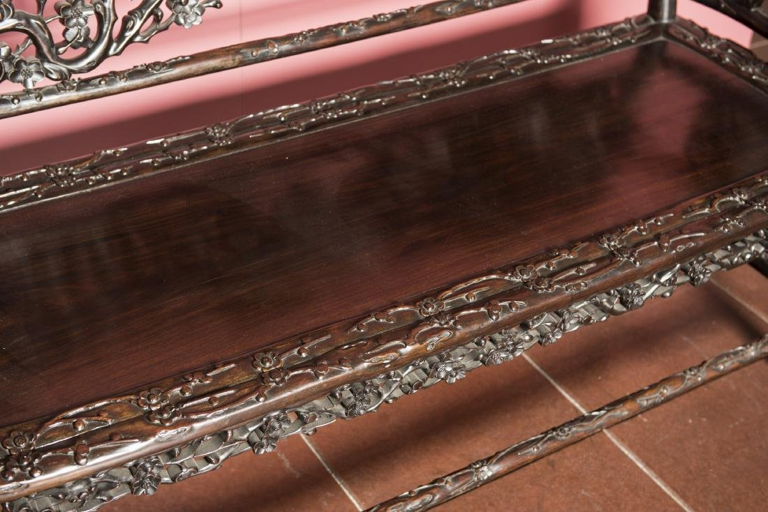 A CHINESE CARVED HARDWOOD BENCH - 2
