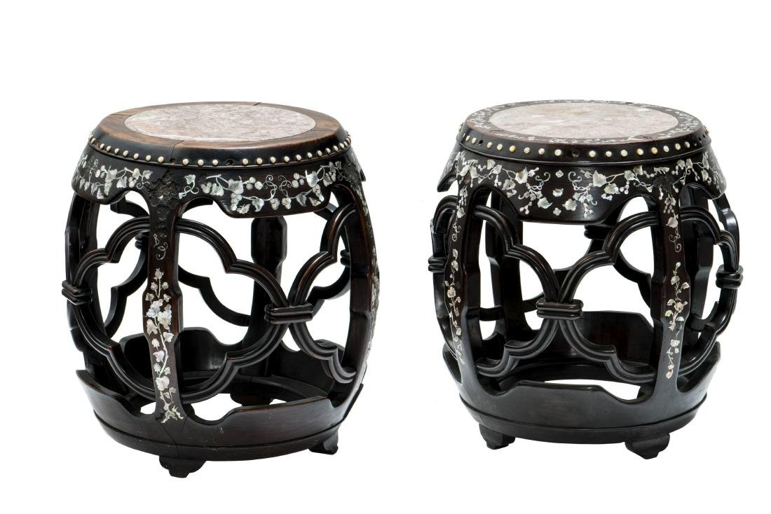 TWO SIMILAR CHINESE MOTHER-OF-PEARL INLAID STOOLS