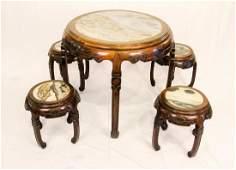 A PAIR OF  HONGMU ROUND TABLE WITH FOUR CHAIRS