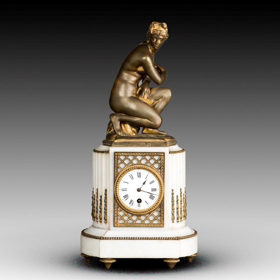 A FRENCH BRONZE MANTEL CLOCK, 19TH CENTURY