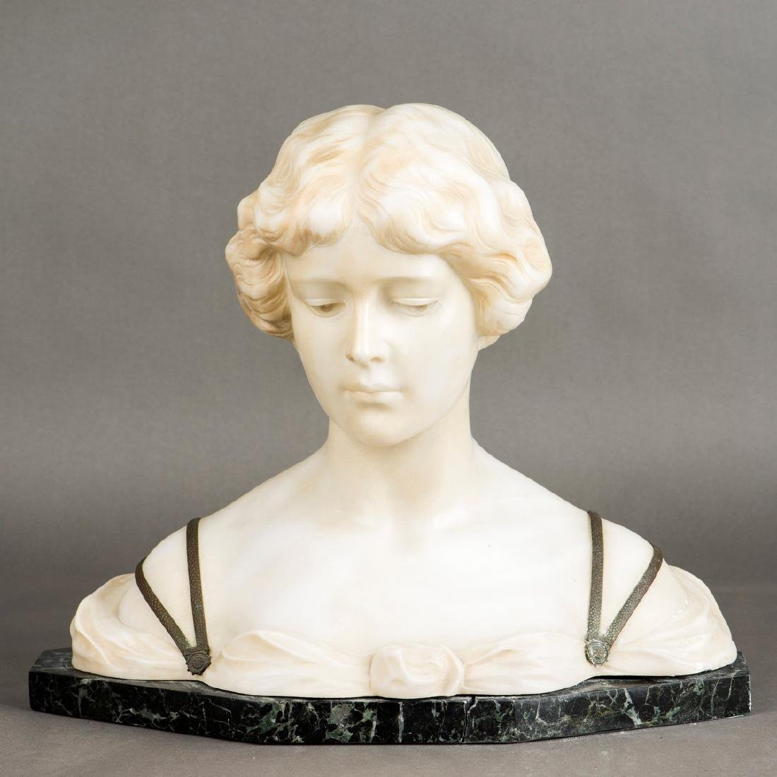 ART DECO ALABASTER, BRONZE YOUNG WOMAN BUST