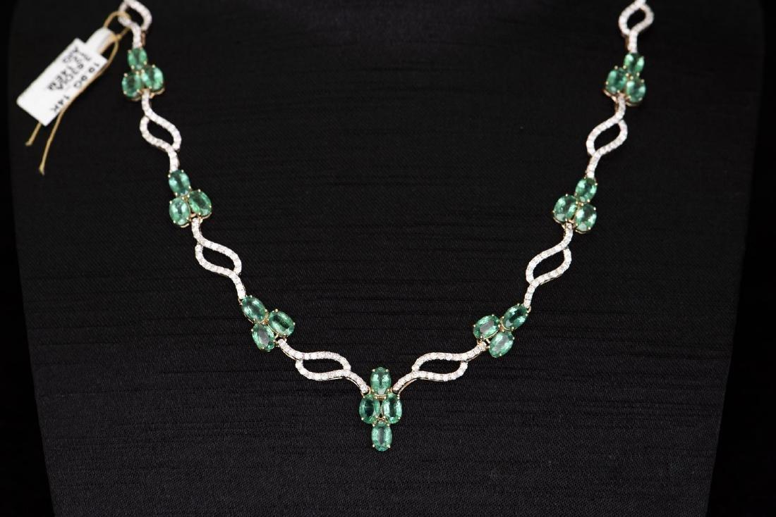 A STRAND OF EMERALD & DIAMOND NECKLACE, AIG CERTIFICATE