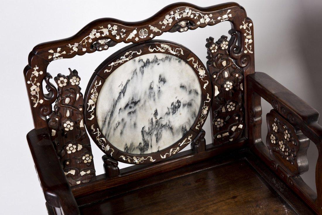MARBLE INLAID CHINESE HONGMU CHAIRS PAIR (Y) - 2