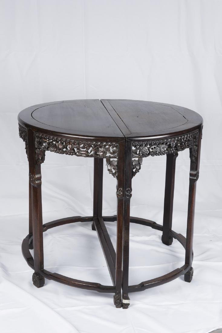 SUANZHI' CHINESE ROSEWOOD TABLES PAIR, QING DYNASTY (Y) - 5