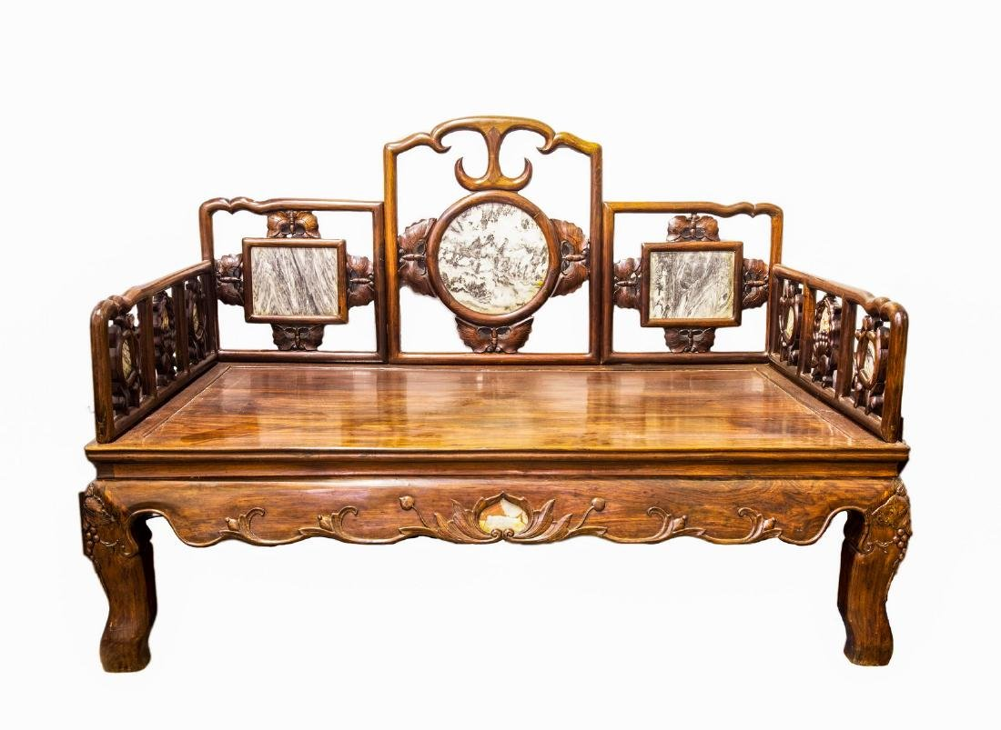A LARGE HARDWOOD CHINESE LUOHAN BED, QING DYNASTY (Y)