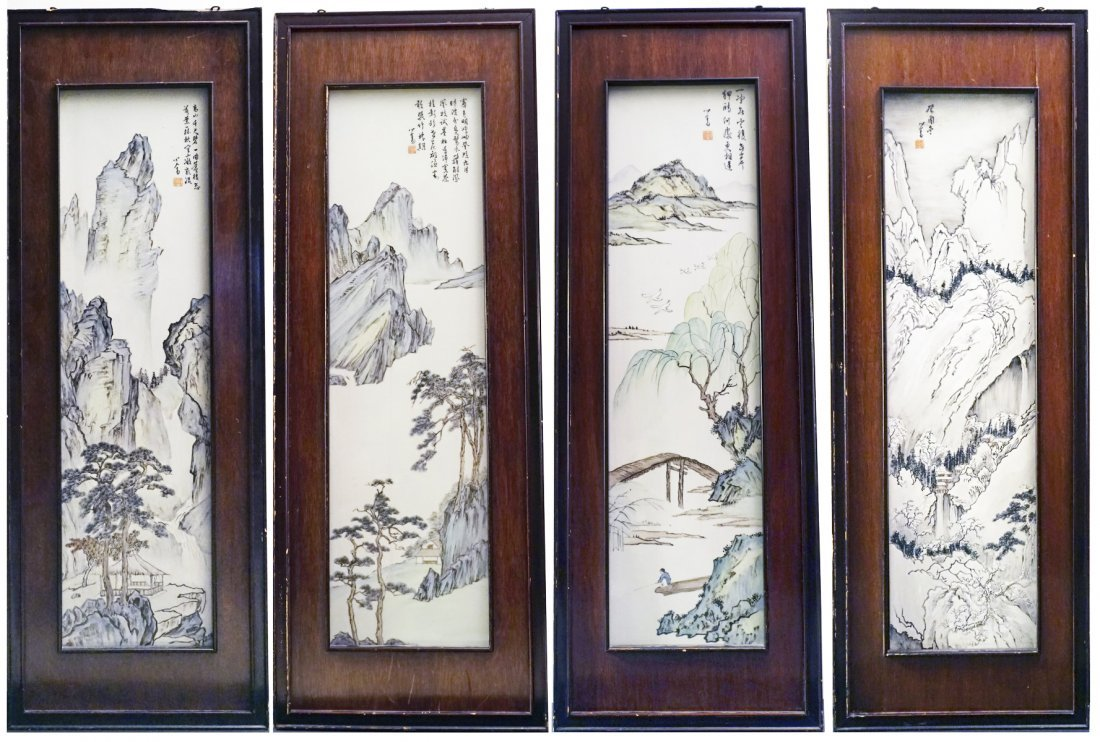 A SET OF 4 CHINESE ENAMELLED PLAQUES, REPUBLIC PERIOD