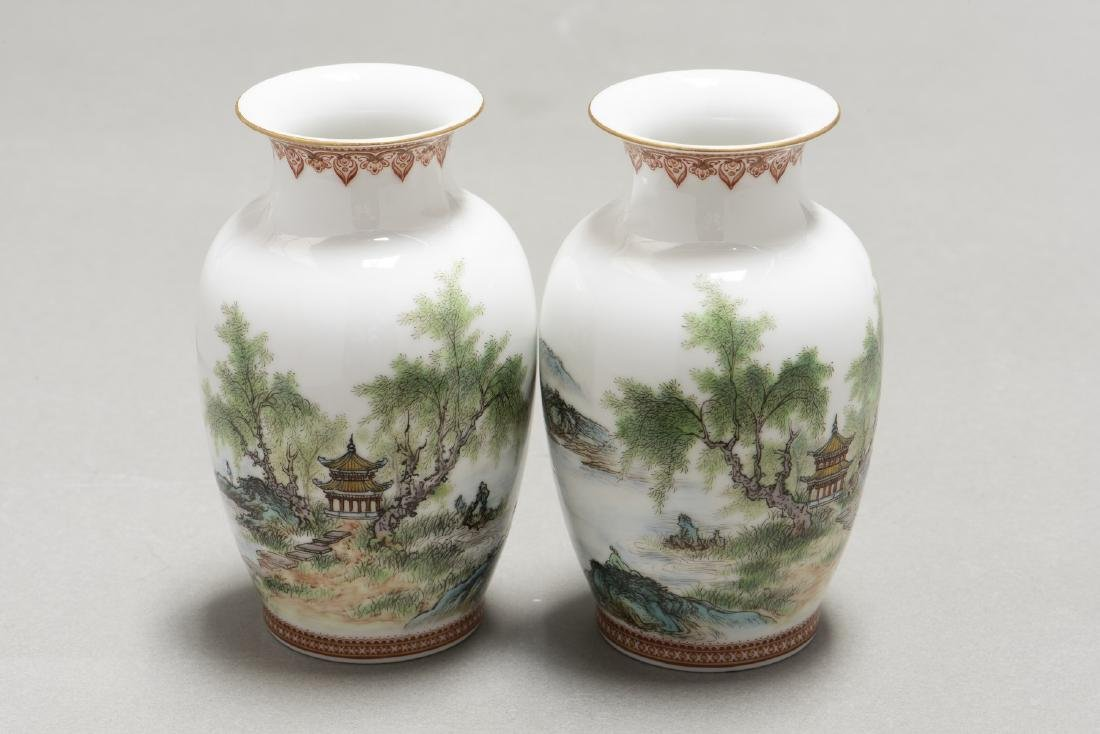 A PAIR OF CHINESE FAMILLE ROSE VASES - 2