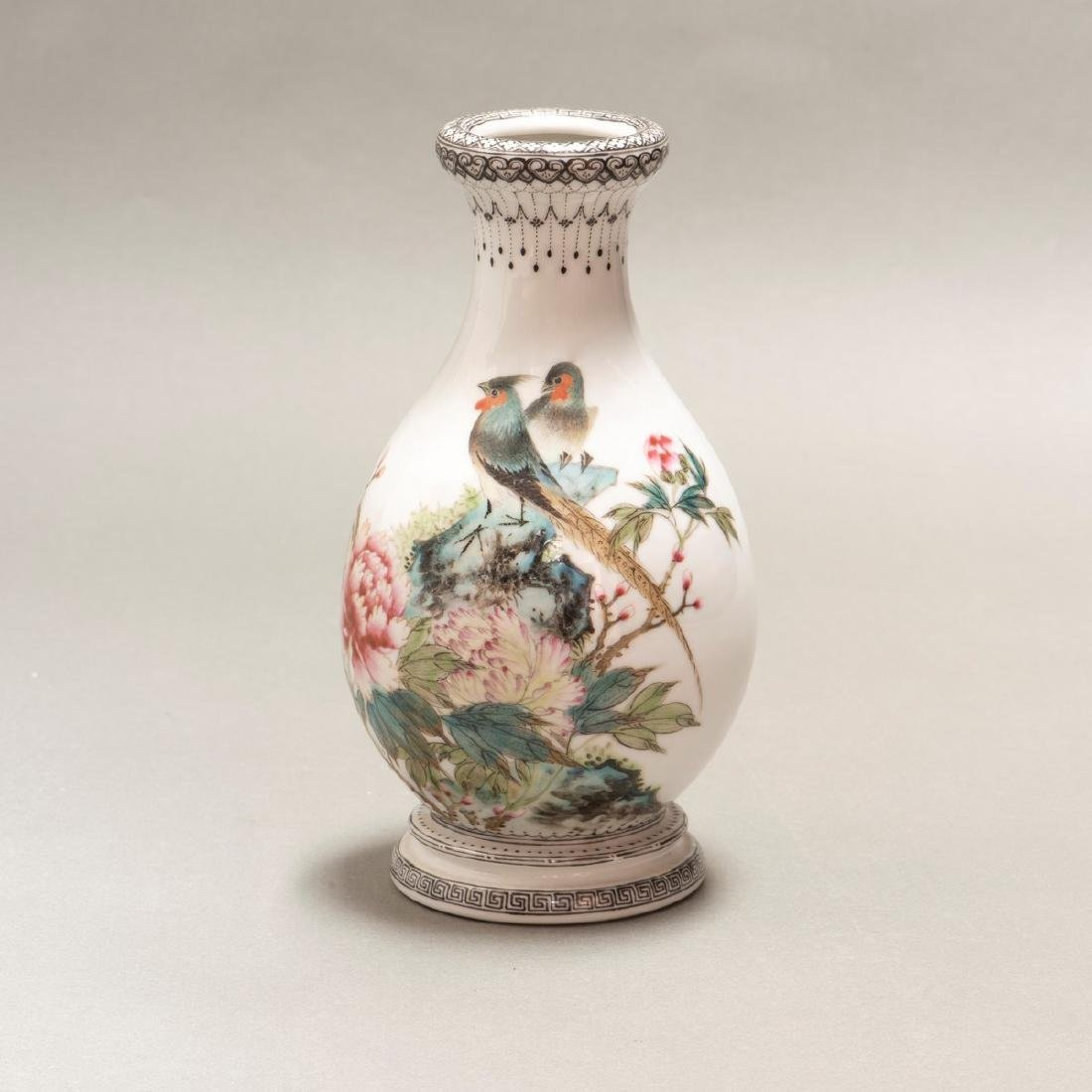 A CHINESE ANTIQUE FAMILLE ROSE PEONIES & BIRD VASE