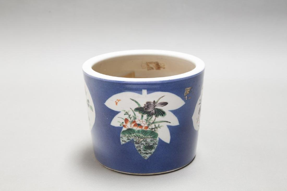 A CHINESE ANTIQUE FAMILLE ROSE BLUE GROUND BRUSH POT - 2