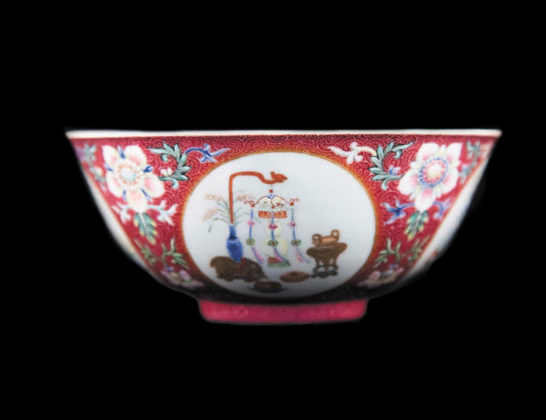 A FAMILLE ROSE MEDALLION BOWL, DAOGUANG PERIOD