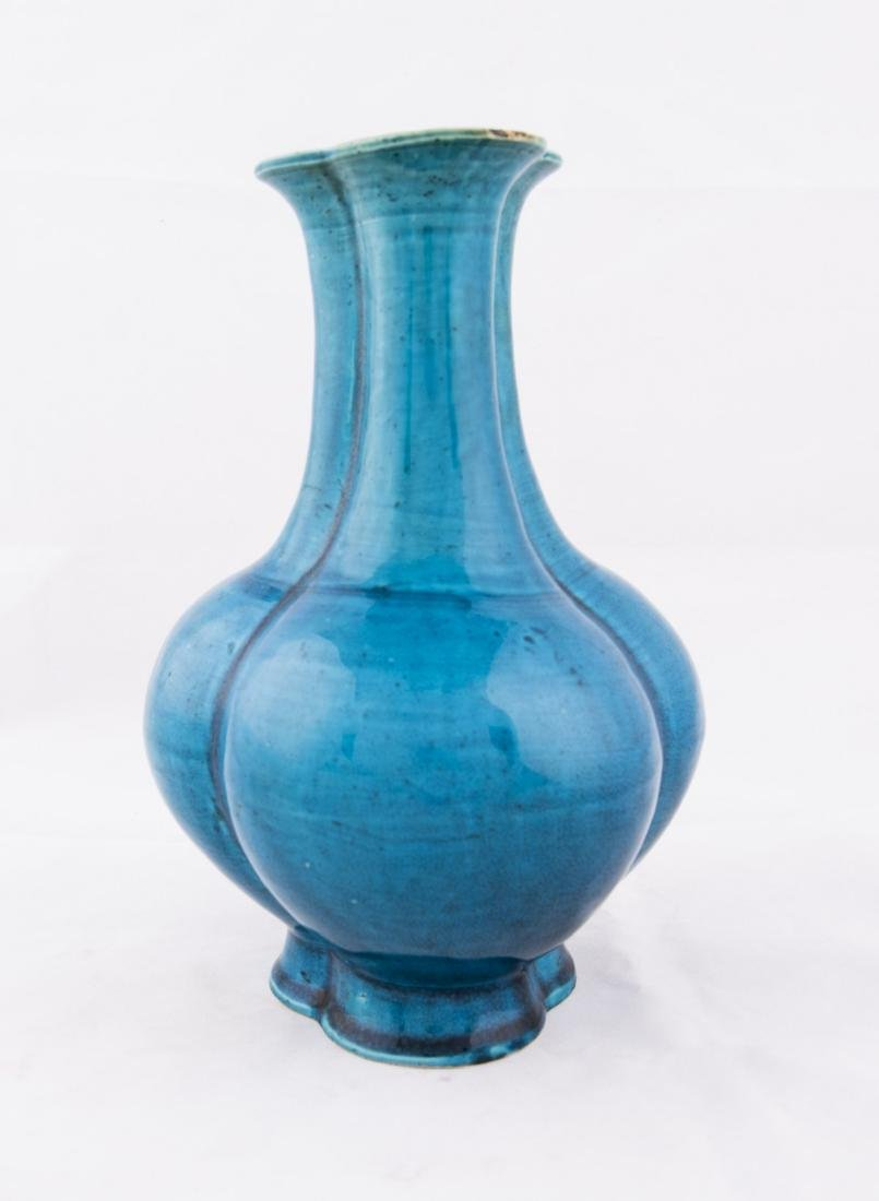 A CHINESE TURQUOISE GROUND CONJOINED VASE, QING PERIOD