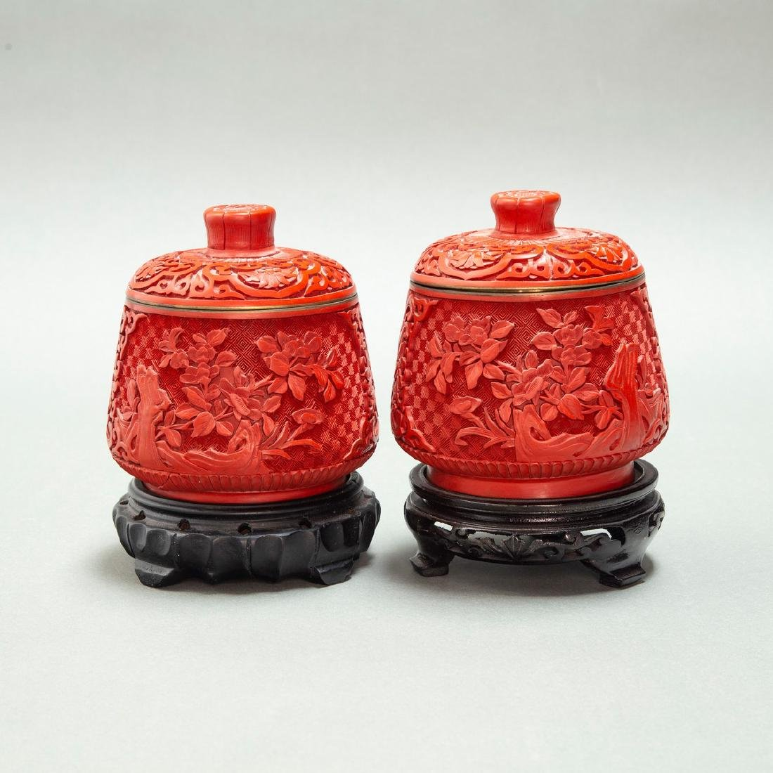 A PAIR OF CHINESE LACQUER CINNABAR TEA CANDY & COVER