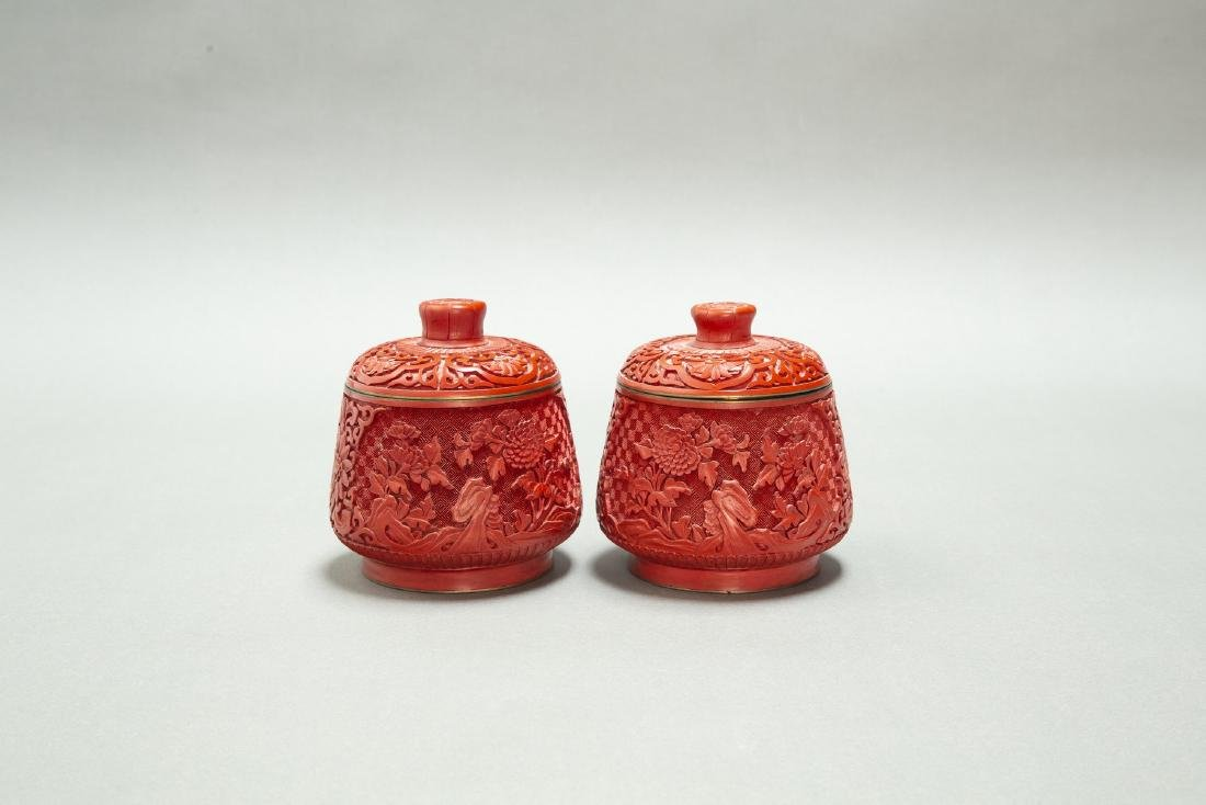 A PAIR OF CHINESE LACQUER CINNABAR TEA CANDY & COVER - 2