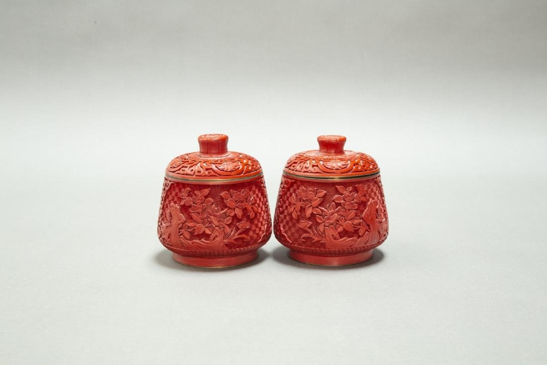 A PAIR OF CHINESE LACQUER CINNABAR TEA CANDY & COVER - 3