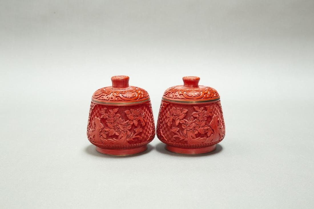 A PAIR OF CHINESE LACQUER CINNABAR TEA CANDY & COVER - 4